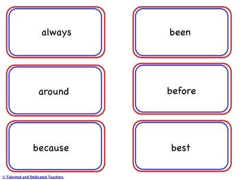 Second Grade Sight Word Memory