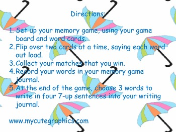 Second Grade Sight Word Memory Game