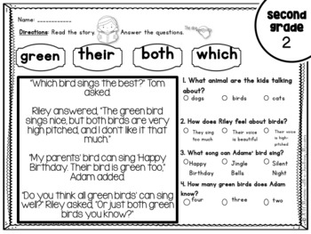 Second Grade Sight Word Passages