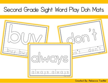 Sight Word Play Doh Mats: Second Grade
