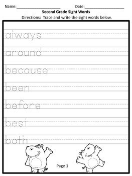 Second Grade Sight Word Practice
