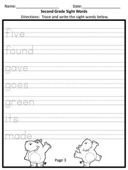 Second Grade Sight Word Practice