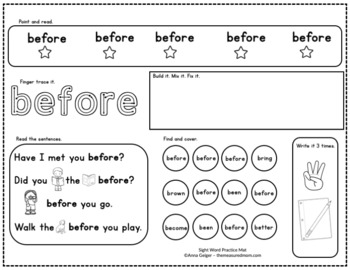 Second Grade Sight Word Practice Mats