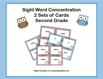 Second Grade Sight Word Printable Concentration Game