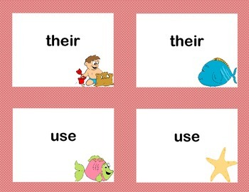Second Grade Sight Word Printable Concentration Game-Beach Theme
