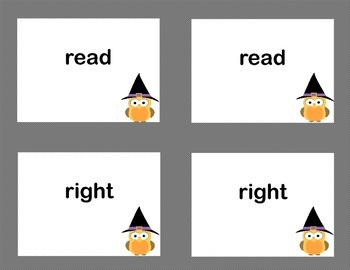 Second Grade Sight Word Printable Concentration Game-Halloween Theme