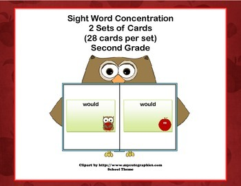 Second Grade Sight Word Printable Concentration Game-Schoo