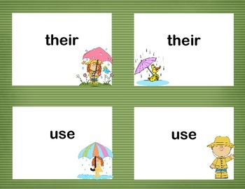 Second Grade Sight Word Printable Concentration Game-Spring Theme