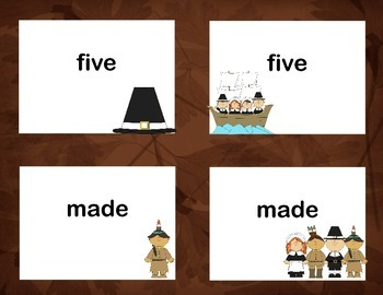Second Grade Sight Word Printable Concentration Game-Thanksgiving Theme