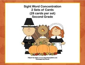 Second Grade Sight Word Printable Concentration Game-Thank