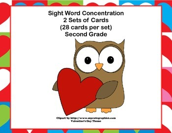 Second Grade Sight Word Printable Concentration Game-Valentine's Day Theme