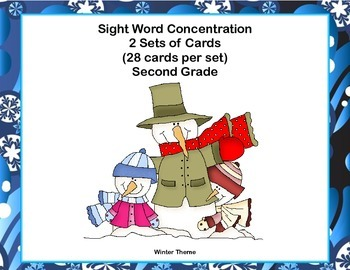 Second Grade Sight Word Printable Concentration Game-Winter Theme