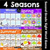 Second Grade Sight Word Recognition Games Bundle for All Seasons