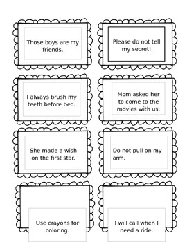 Second Grade Sight Word Sentence Cards
