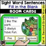 Second Grade Sight Words Sentences | Digital BOOM Task Cards | Distance Learning