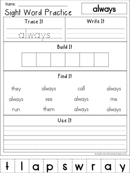 Second Grade Sight Word Work {Trace It, Write It, Build It, Find It, Use It}