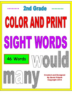 Second Grade Sight Words Activity Cards COLOR AND PRINT