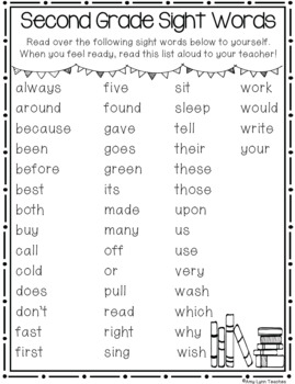Second Grade Sight Words Assessments and Parental Support Helpers