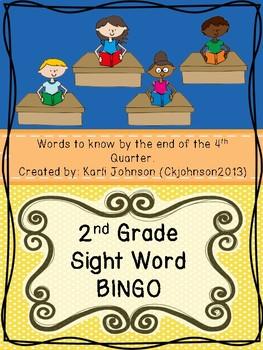 Second Grade Sight Words Bingo Fourth Quarter