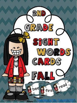 Second Grade Sight Words Cards - Fall Themed