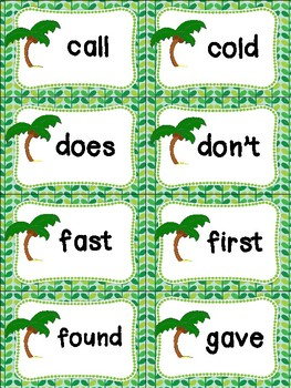 Second Grade Sight Words Cards - Summer Themed