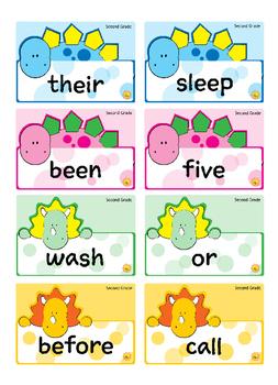 Second Grade Sight Words -- Dino Theme Flash Cards