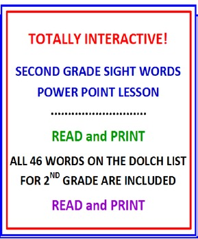Second Grade Sight Words FREE Power Point PREVIEW