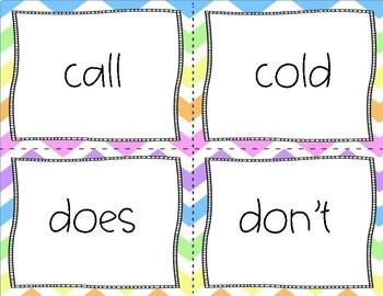Second Grade Sight Words Flash Cards Rainbow Chevron