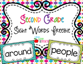 Second Grade Sight Words FREEBIE Summer Pop Collection