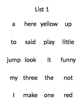 Second Grade Sight Words Lists