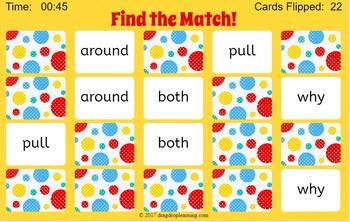 Digital Second Grade Sight Words Memory Game