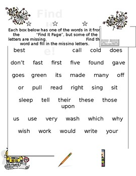 Second Grade Sight Words Missing Letters PLUS 2 Word Search Puzzles