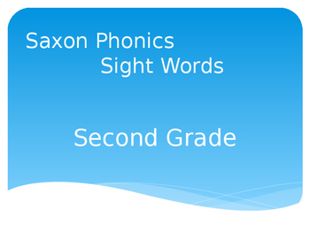 Second Grade Sight Words Powerpoint