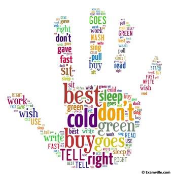 Second Grade Sight Words (Word Cloud - Hand Shape)