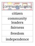 Second Grade Social Studies - Community Leaders - Word Wall Vocabulary