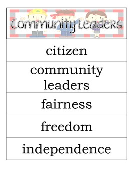 Second Grade Social Studies - Community Leaders - Word Wall Vocabulary