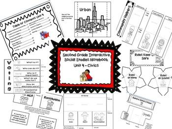 Second Grade Social Studies Interactive Notebook-Geog., History, Econ, Civics