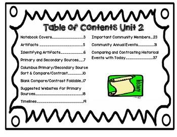 Second Grade Social Studies Interactive Notebook Unit 2 History