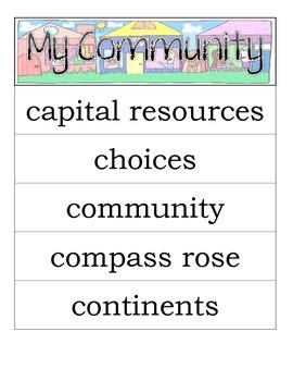 Second Grade Social Studies - My Community - Word Wall Voc
