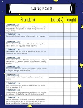 Second Grade Space Theme Common Core Checklist