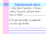 Second Grade Spanish Daily Warm-up #4 (Calentamiento Diario #4)