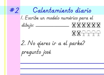 Second Grade Spanish Daily Warm-up Sample (Calentamiento Diario)