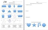 Second Grade Spanish Geometry Quiz (La Geometría)