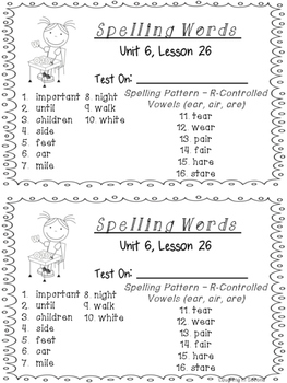 Second Grade Spelling List and Activities - Unit 6