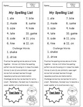 Second Grade Spelling Lists | 2nd Grade Spelling Words