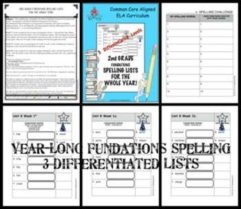 2nd Grade Spelling Lists for the Whole Year! (1st Edition) Differentiated/CCSS
