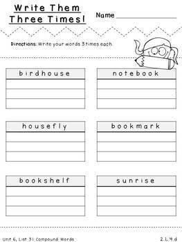 Second Grade Spelling-Unit 6 (over 100 editable items, Common Core aligned)
