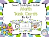 Second Grade Spiral Math Task Cards for April