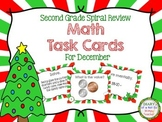 Second Grade Spiral Math Task Cards for December