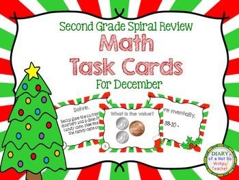 Second Grade Spiral Math Task Cards for December